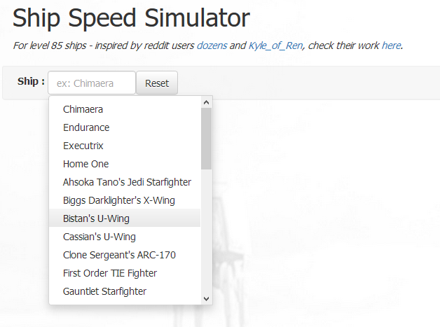 Ship Speed Calculator for SWGOH